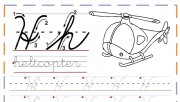 cursive handwriting tracing practice worksheets letter h for helicopter