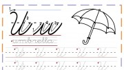 cursive handwriting tracing worksheets letter u for umbrella
