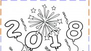 Printable new year fireworks coloring pages 2018