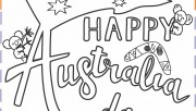 happy australia day colouring card