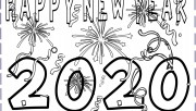 Printable happy new year 2020 coloring pages