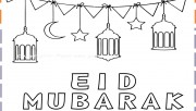 Eid Mubarak Coloring Pages for kids print out