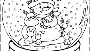 Christmas snowman globe kids coloring pages