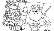 Christmas Santa Claus relaxing in chair coloring pages