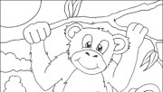 Print out monkey coloring page for kids book