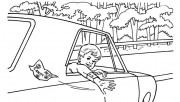 Boy in car coloring pages…