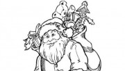 Printable Santa Claus goes down the chimney coloring pages