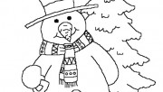 Printabel coloring sheet snowman near Christmas tree