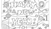Printabel coloring pages Happy New Year 2013
