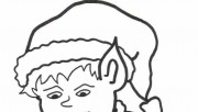 Printable Christmas happy Elf boy coloring page