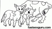 Printable Farm animal cow family coloring pages