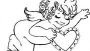 Print out Valentines Day Cupid  with Hearts coloring page childrens