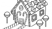 Printable Christmas gingerbreads house coloring sheet