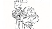 Woody and Buzz cartoon coloring page for kids