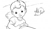 Boy in toy car coloring p…