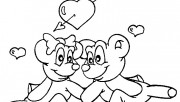 Printable valentine ted bear coloring pages