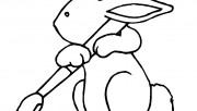 Printable Easter Bunny With Brush Coloring Page for kids