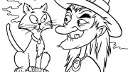 Halloween witches and cat coloring pages