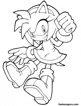 Printable Sonic the Hedgehog  Amy Rose Coloring in sheets