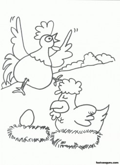 Egg hatching Farm chickens coloring pages