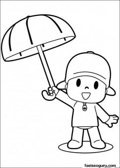Printable coloring sheet of cartoon Pocoyo with Umbrella