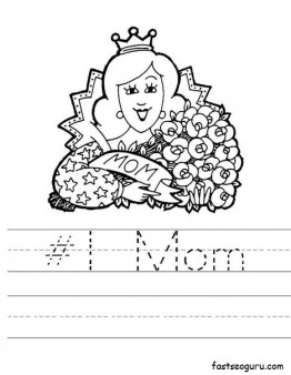 Printable happy mothers day 1 mom worksheet pages