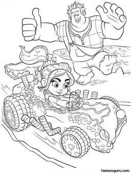 Printable Wreck-It Ralph cheering for Vanellope coloring page
