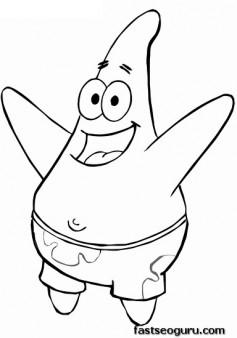Printable Cartoon SpongeBob Patrick coloring page