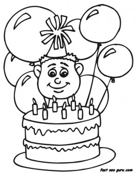 7 years boy with birthday cake and balloon coloring pages