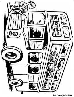 Coloring book page school buss printable