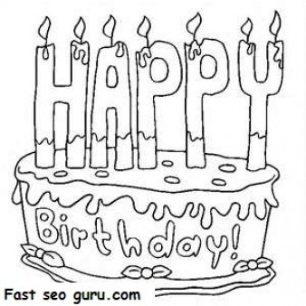 Printable Happy birthday cake coloring pages