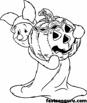 Winnie the Pooh Piglet printable halloween coloring pages disney