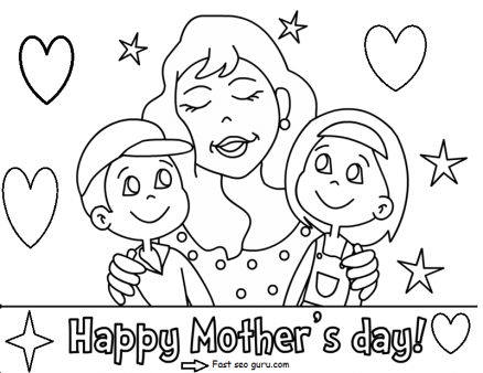 Printable Happy mothers day with her children coloring pages