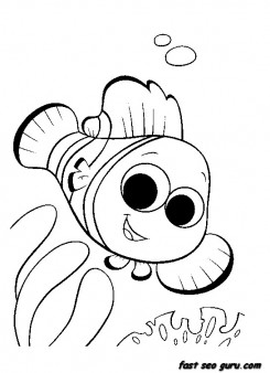 Printable sea Nemo Fish Coloring pages