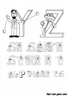 Printable preschool Alphabet Sesame Street coloring in worksheets for kindergarten