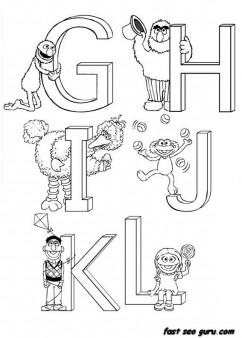 Printable preschool Alphabet Sesame Street coloring in worksheets