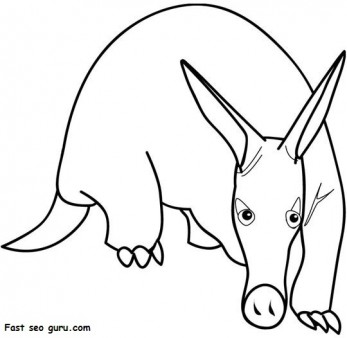 Print out animal Aardvark coloring pages