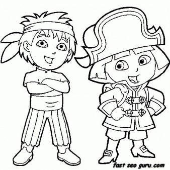 Printable Dora the Explorer and Diego dressed as pirate coloring pages