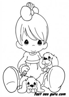 Print out cute boy with puppies colouring pages