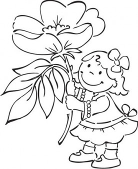 Print out girl with spring flowers Windflower coloring pages