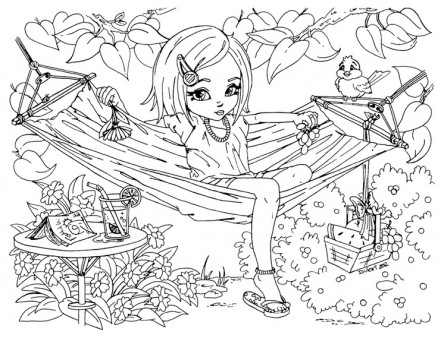 Printable Summer time girl enjoy on hammock coloring pages