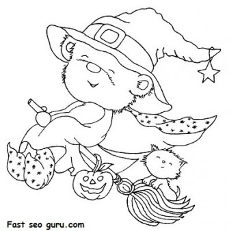 Print out Halloween teddy bear dressed Witch coloring page