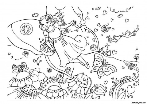 Printable Valentine day fairy colouring page