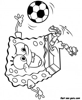 Print out Spongebob playing soccer coloring page