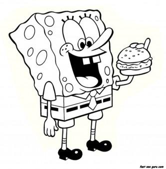 Printable Cartoon spongebob eating hamburger coloring page