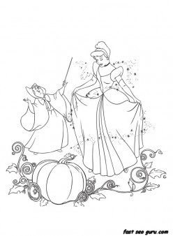 Printable disney characters Cinderella and Her Fairy Godmother coloring pages