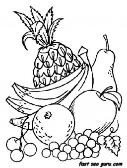 Printable Fruits Pineapple Grpsae and Banana coloring in pages