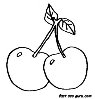 Print out Fruits Cherry coloring in pages