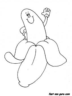 Printable Banana happy face coloring book sheets