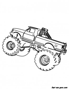Printable Monster Truck coloring page for boy